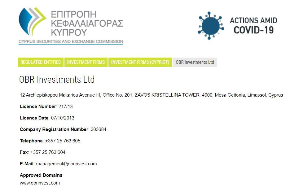 OBRinvest: Licenze e autorizzazioni