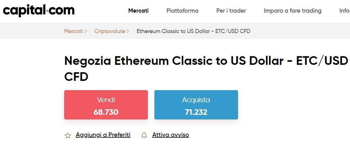 comprare Ethereum Classic con capital