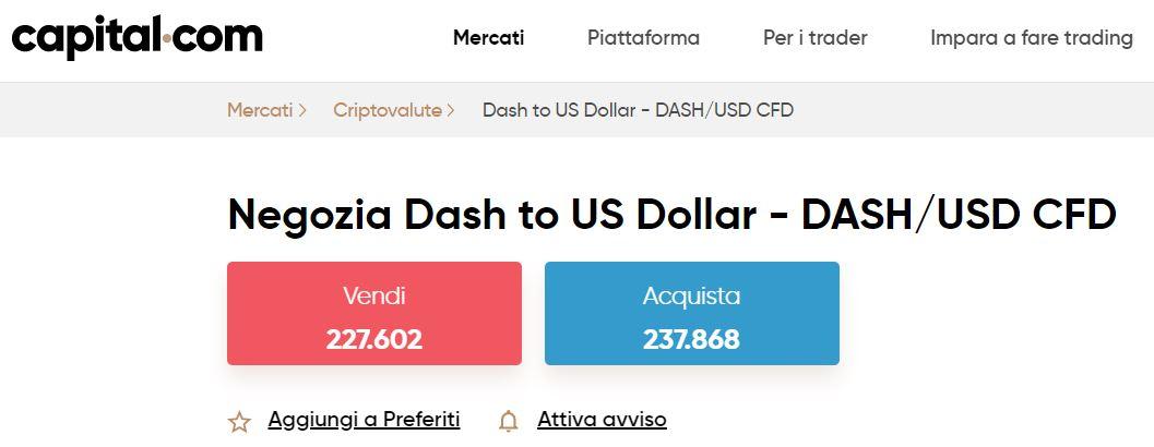 comprare dash con capital
